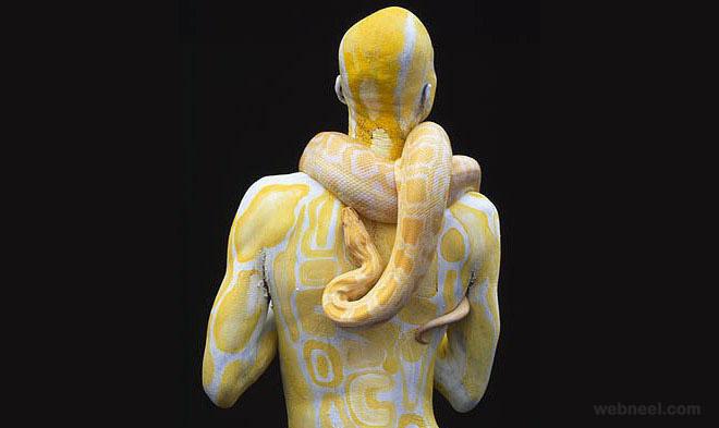 body painting snake