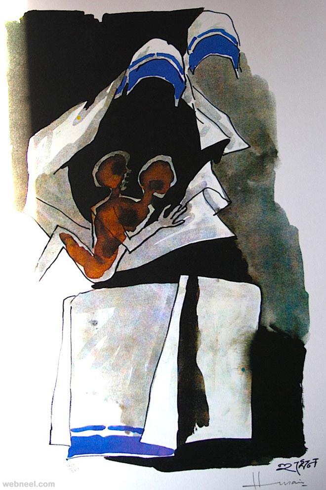 mf husain painting mother teressa
