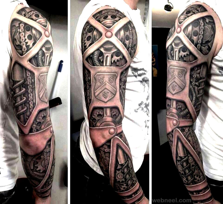 3d mechanical tattoo hand