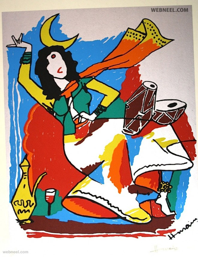 beautiful mf husain painting dancing woman