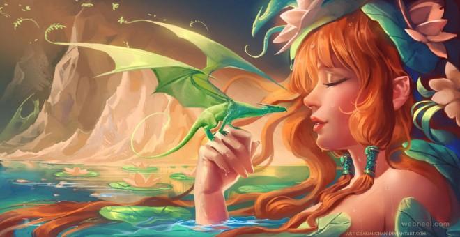 dragon fantasy digital art by sakimichan