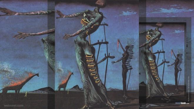 the burning giraffe paintings by salvador dali
