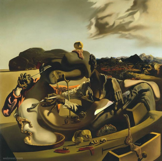 autumnal cannibalism paintings by salvador dali
