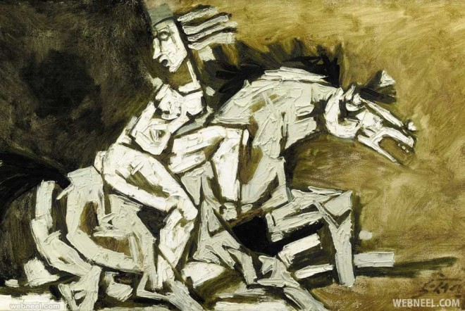 leaping horse mf husain painting