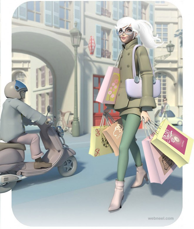 3d shopping girl character by mattroussel