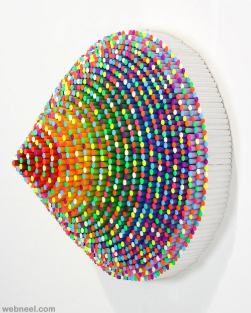 colorful crayon sculpture