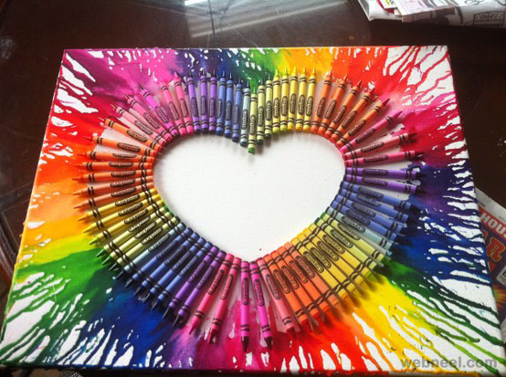 crayon melting art heart