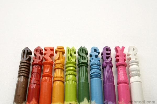 currency crayon sculpture