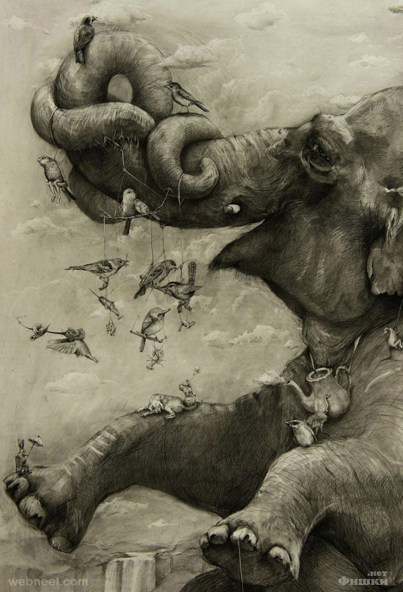 amazing drawing elephant mural