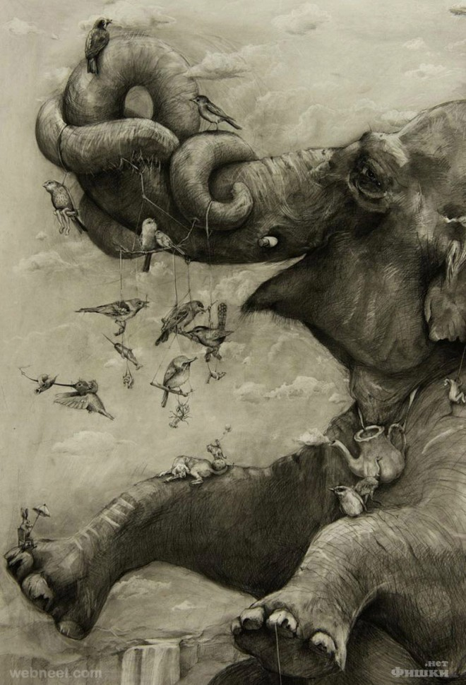 amazing drawing elephant mural by adonna