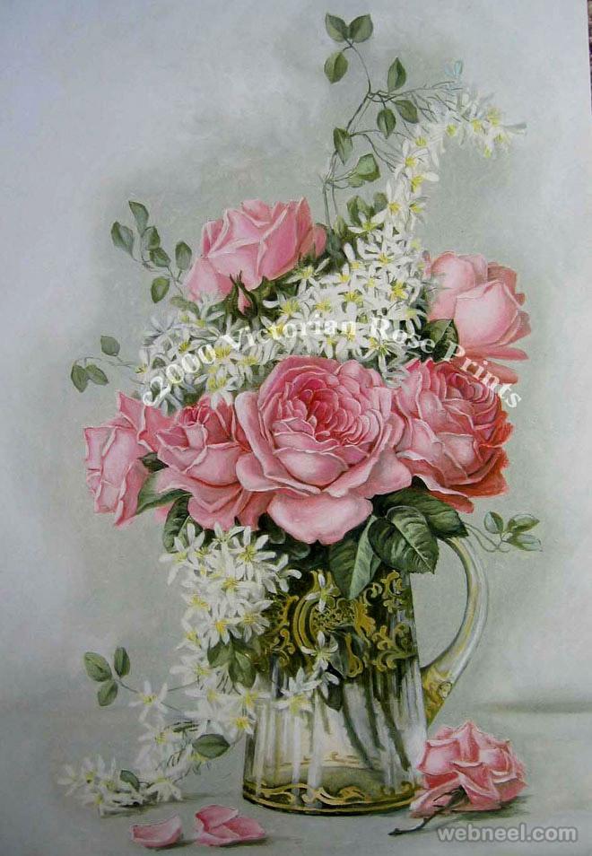rose painting yard long