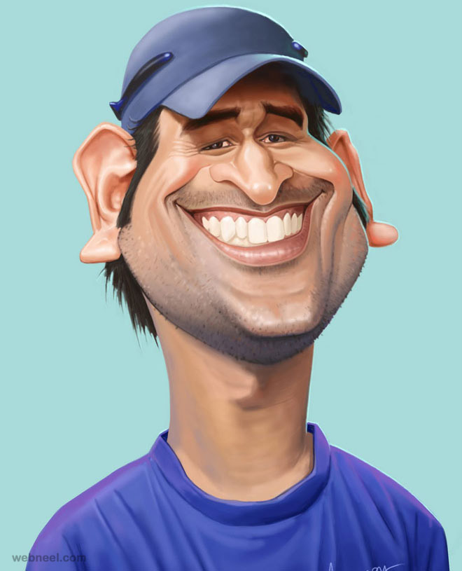 dhoni caricature by mahesh
