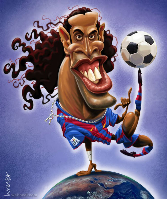ronaldinho gold caricature by mahesh