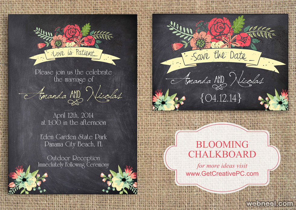 retro wedding invitation designs