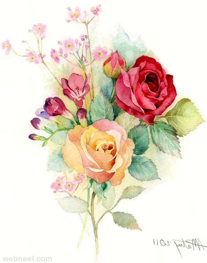 rose watercolor pinting