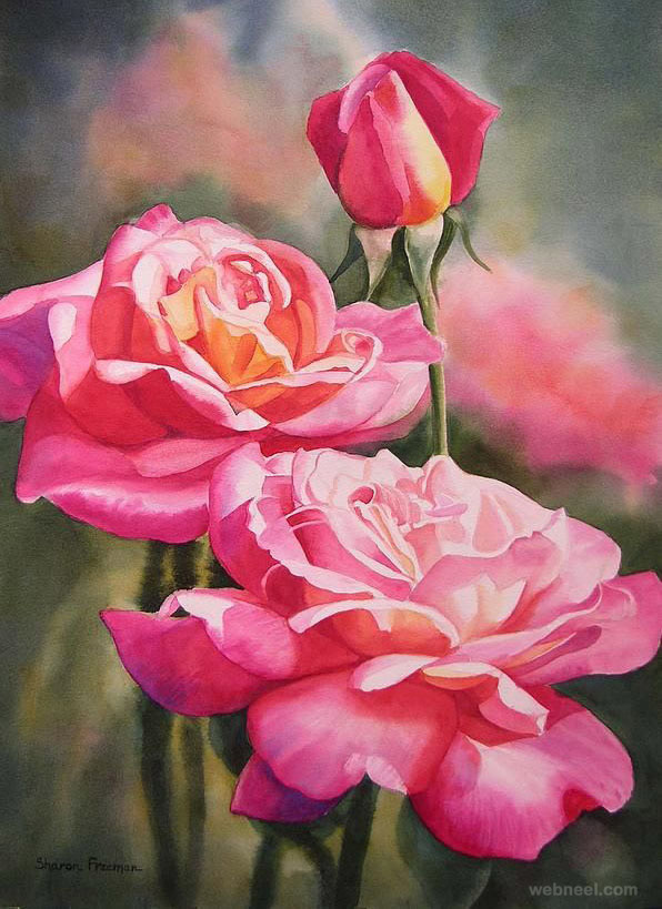 rose watercolor painting