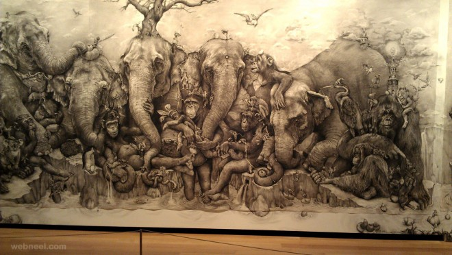 amazing drawing elephants mural by adonna