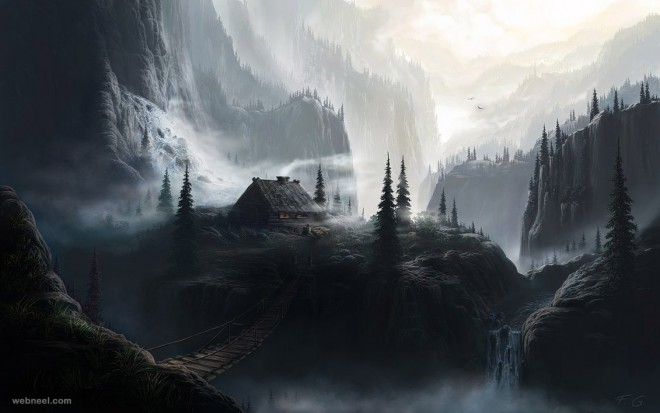 mountain matte painting by feliks