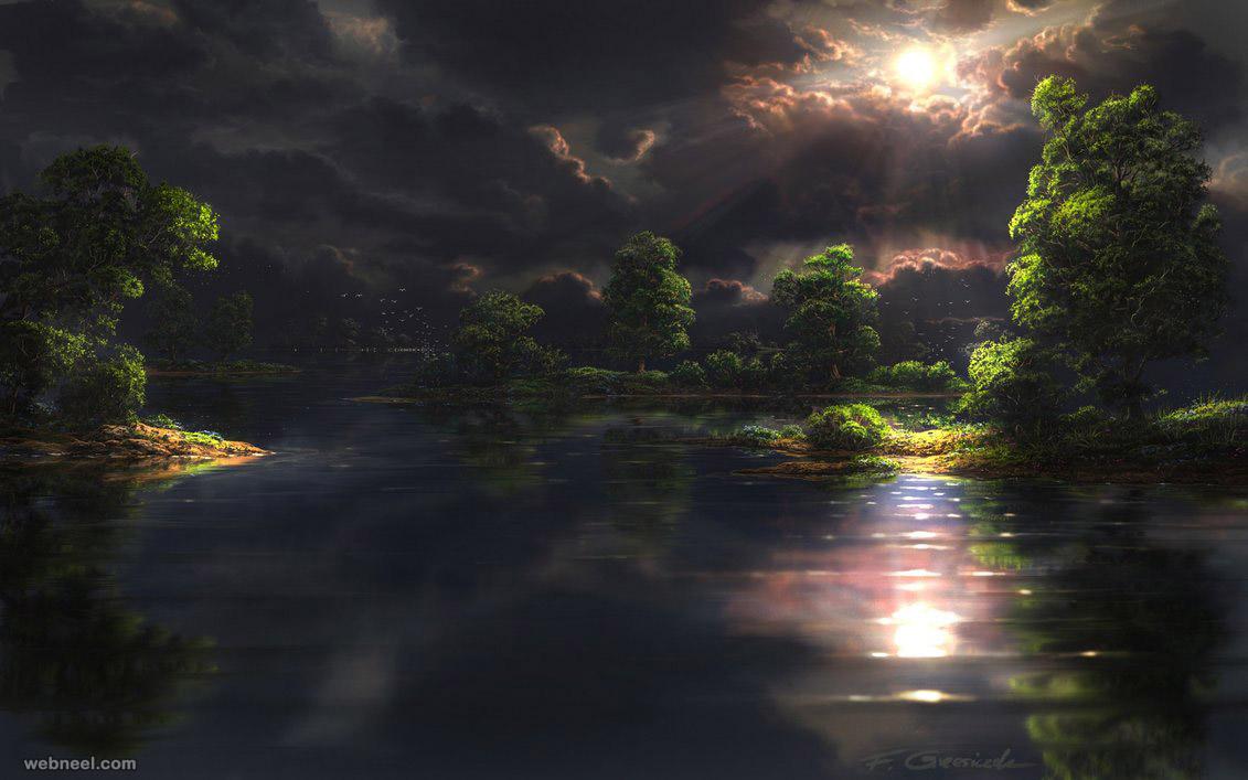 lake matte painting