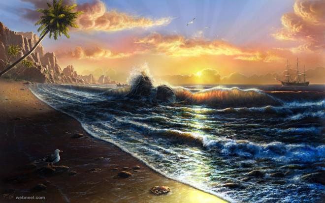 sunset digital art by feliks