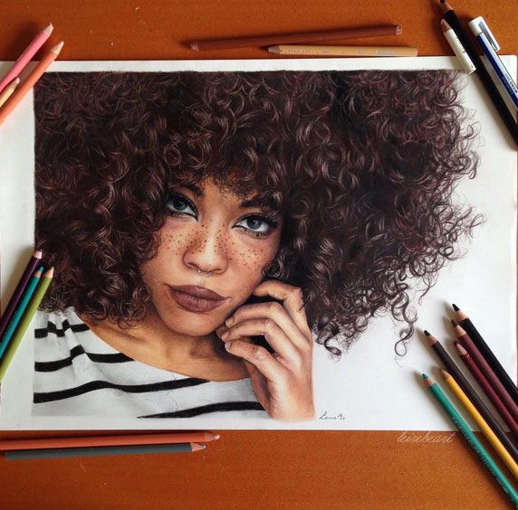 girl pencil art by leire be