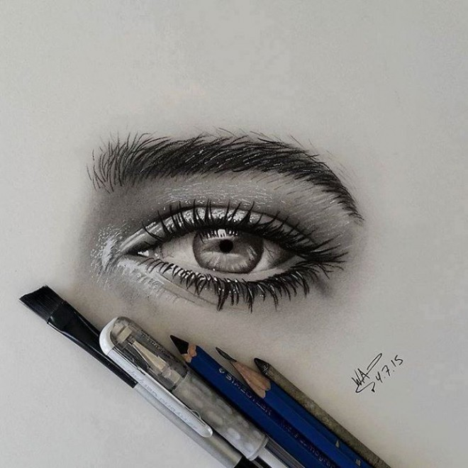 realistic eyes drawing by waleedart