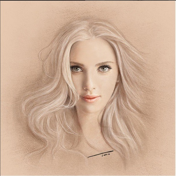 woman realistic drawing by tolio