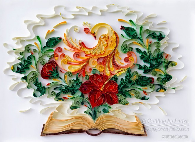 quilling art peacock design by larisa