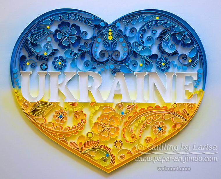 love heart typography quilling art