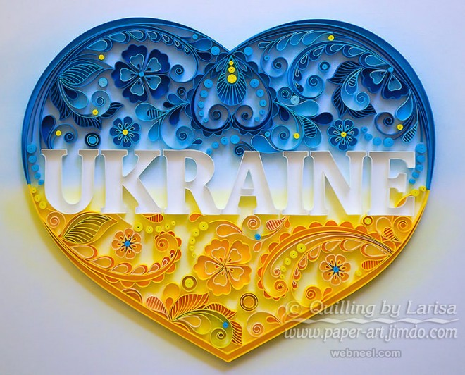 love heart typography quilling art by larisa