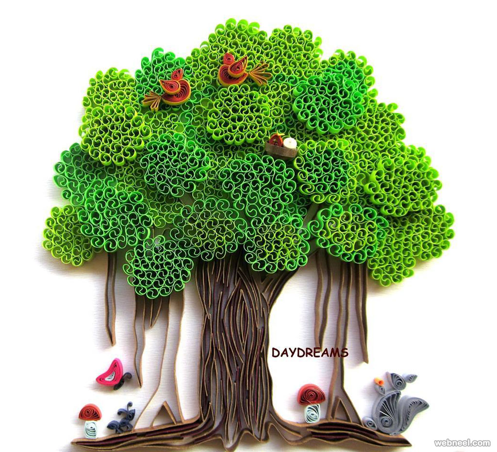 tree quilling art
