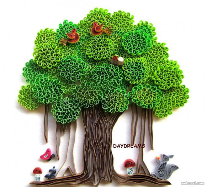 tree quilling art by daydreams