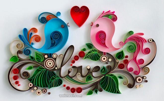 birds quilling art by larisa