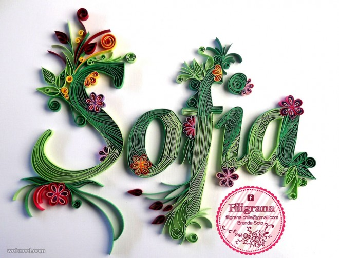 typography design quilling art by filigranaenchile