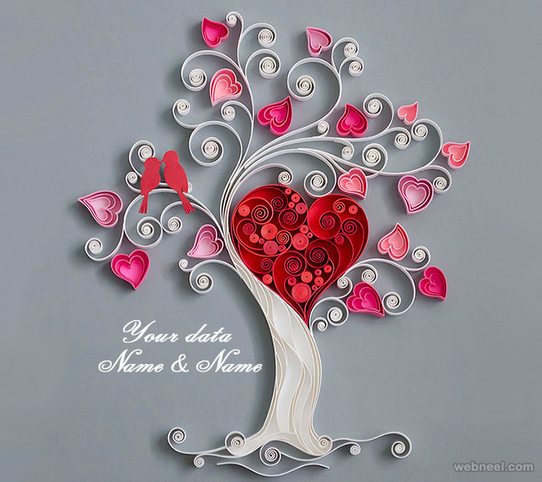 love heart valentines day card quilling art