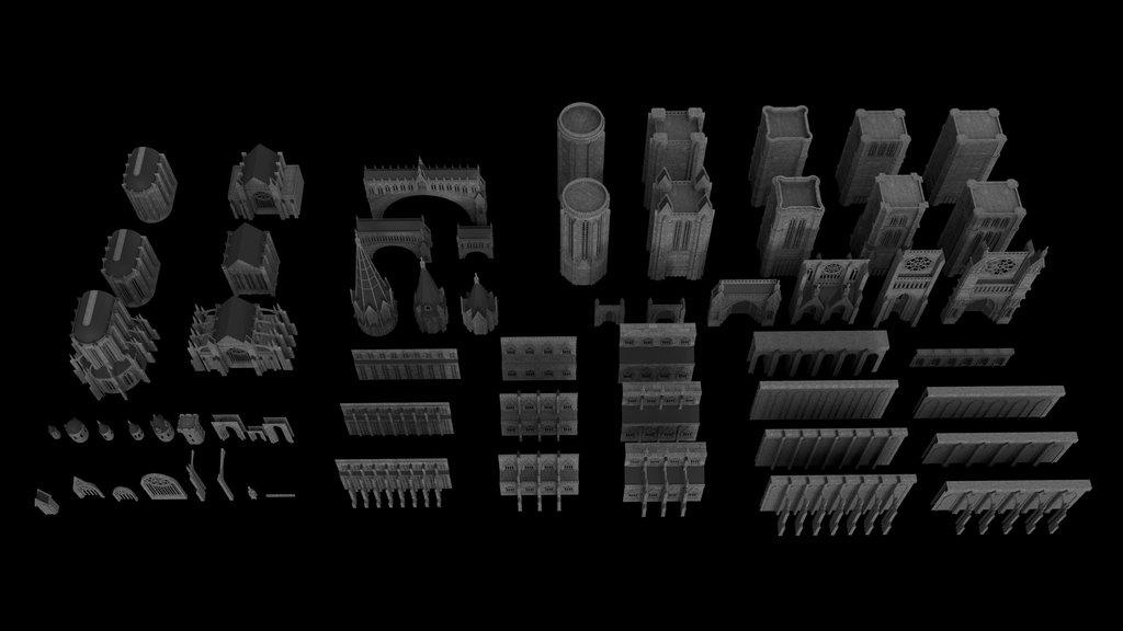 kitbash3d 3d model gothic kit