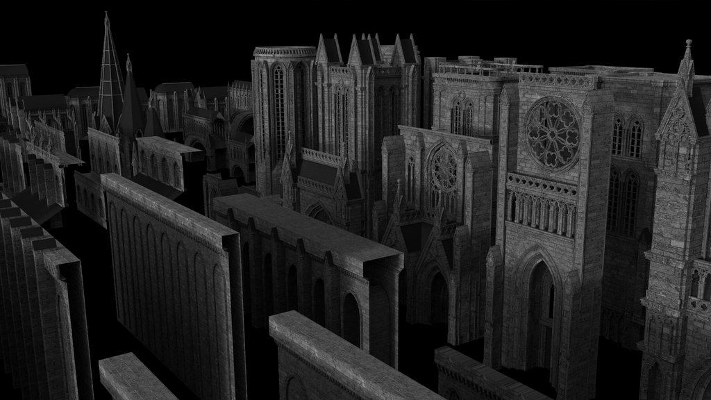 kitbash3d 3d model gothic kit