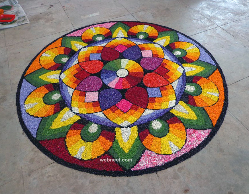 best onam pookalam art design