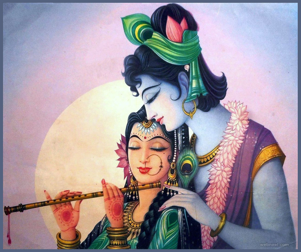 50 Beautiful Radha Krishna Paintings from top Indian artists