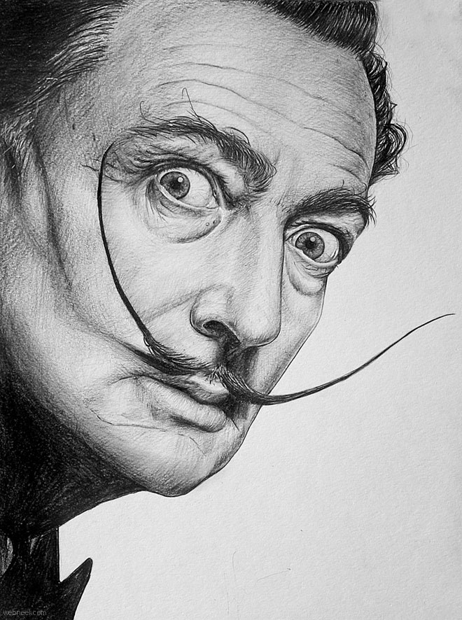 pencil drawing salvador dali