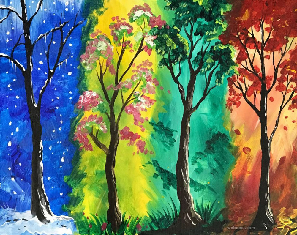 tree painting four season colorful
