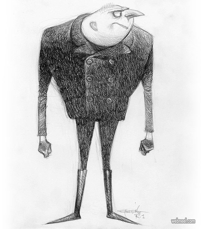 funny drawing despicable gru by cartergoodrich