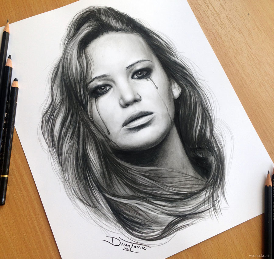 pencil drawing jennifer lawrence by atomiccircus