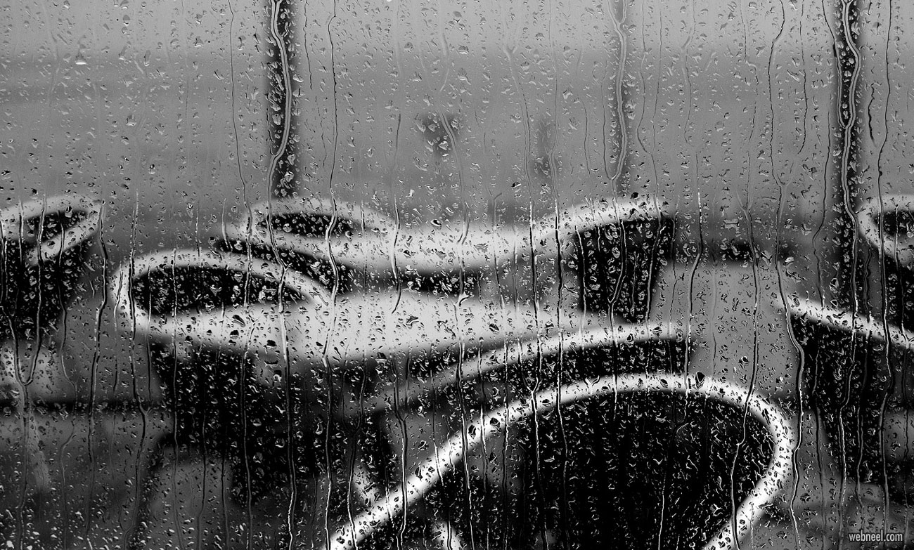 rain photography black and white