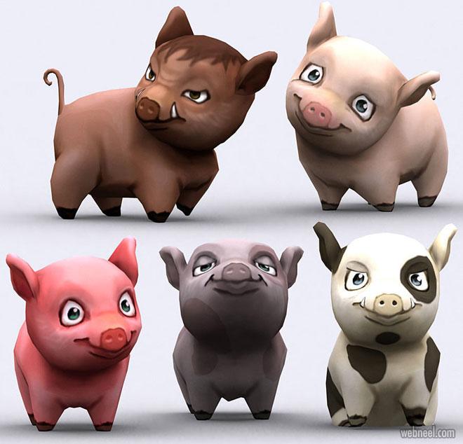 3d models pig animal