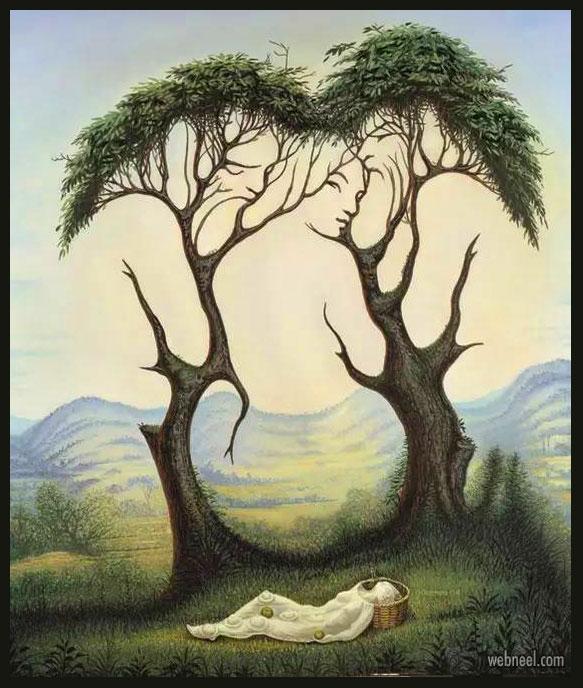 illustion tree painting