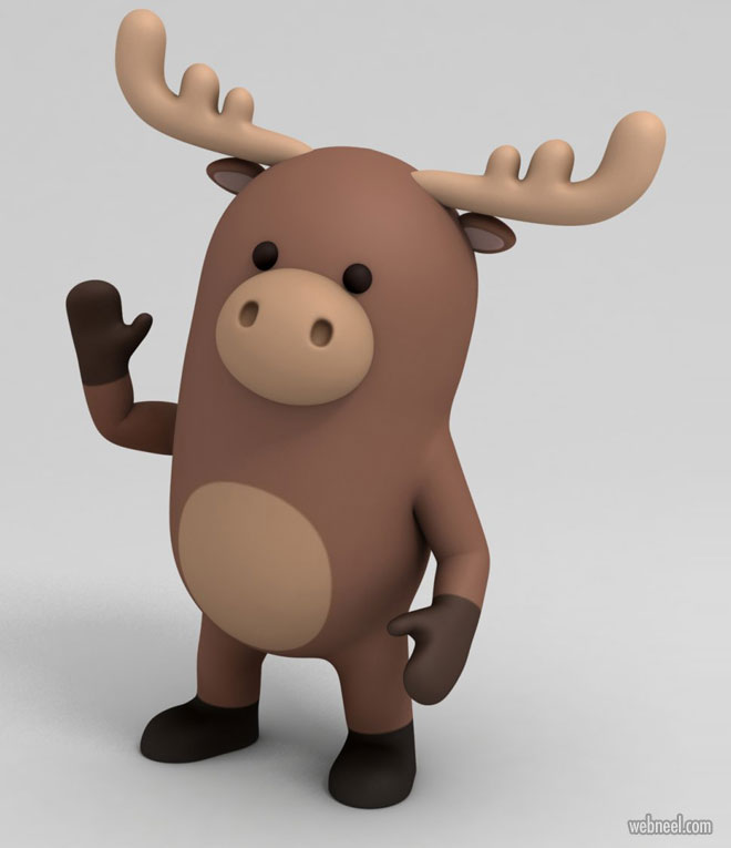 3d model moose animal by bariacg