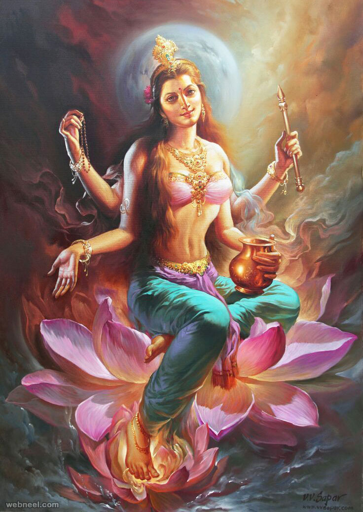 indian oil painting godess vvsapar