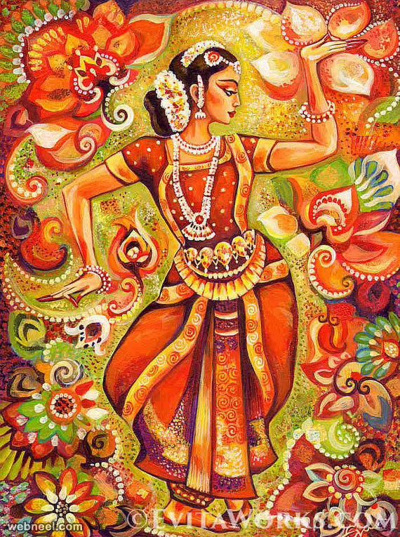 indian painting dancer bharatanatyam by evitaworks