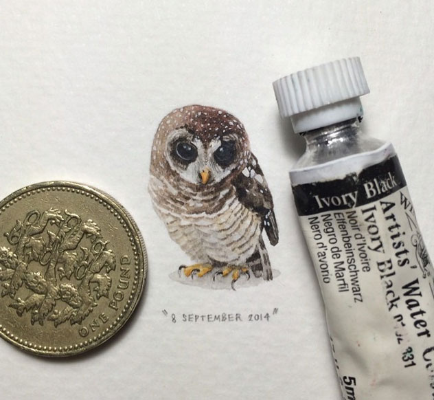 miniature painting artwork owl by lorraine loots